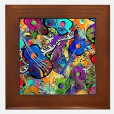 Colorful Painted Guitars Curvy Piano M Framed Tile