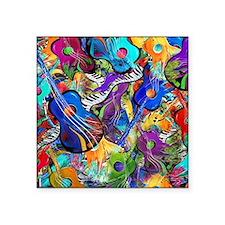 "Colorful Painted Guitars Cu Square Sticker 3"" x 3"""