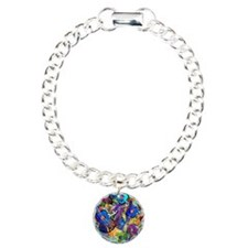Colorful Painted Guitars Charm Bracelet, One Charm