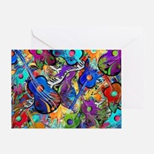 Colorful Painted Guitars Curvy Piano Greeting Card