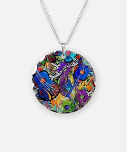 Colorful Painted Guitars Cur Necklace Circle Charm