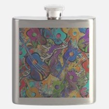 Colorful Painted Guitars Curvy Piano Music A Flask