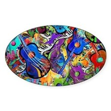 Colorful Painted Guitars Curvy Pian Decal