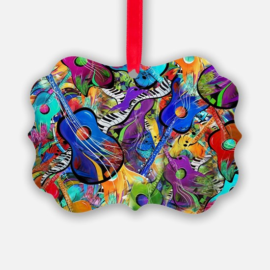 Colorful Painted Guitars Curvy Pi Ornament