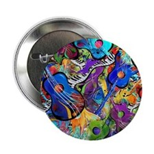 "Colorful Painted Guitars Curvy Piano  2.25"" Button"