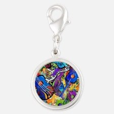 Colorful Painted Guitars Curvy Silver Round Charm