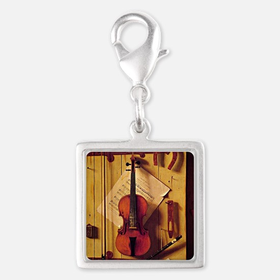 Still Life with Violin and Mu Silver Square Charm
