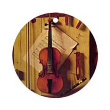 Still Life with Violin and Music -  Round Ornament