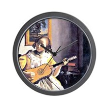 Vermeer - Young Woman Playing a Guitar Wall Clock