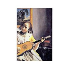 Vermeer - Young Woman Playing a G Rectangle Magnet
