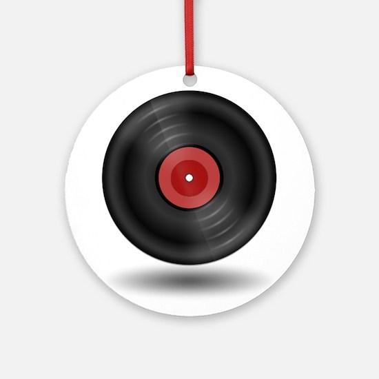 Vintage Vinyl Record Ornament (Round)