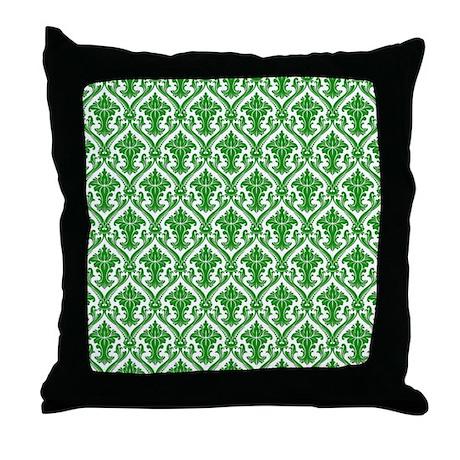 Green Fancy Pattern Throw Pillow
