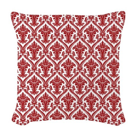 Red Fancy Pattern Woven Throw Pillow