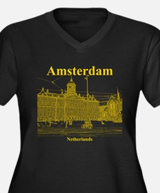 Amsterdam Women's Plus Size V-Neck Dark T-Shirt
