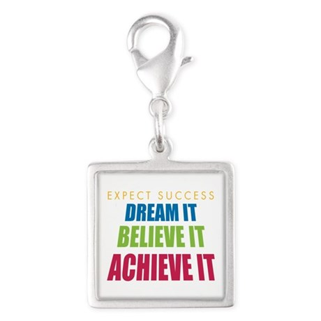 Expect Success Silver Square Charm