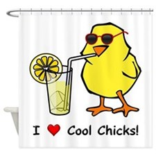 Love Cool Chicks Shower Curtain