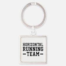 Horizontal Running Team Square Keychain