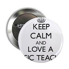 """Keep Calm and Love a Music Teacher 2.25"""" Button"""