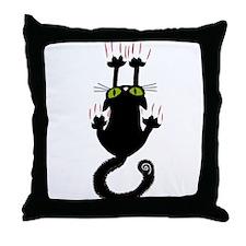 Black cat sliding down Throw Pillow