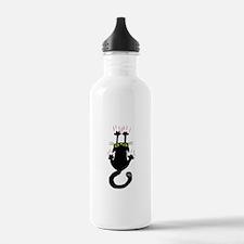 Black cat sliding down Water Bottle