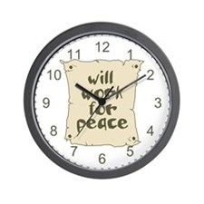 Will Work for Peace Wall Clock
