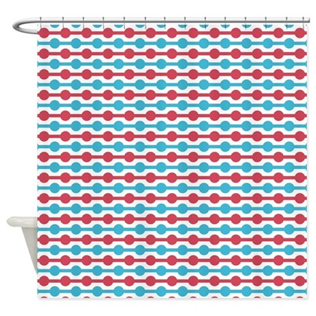 Red And Blue Beads Shower Curtain By ColorfulPatterns