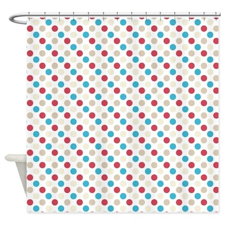 Red And Blue Polka Dots Shower Curtain By ColorfulPatterns
