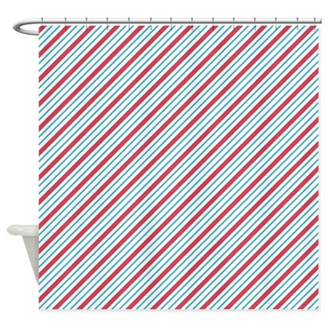 Red And Blue Diagonal Stripes Shower Curtain By ColorfulPatterns