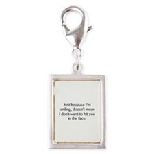 Just Because I'm Smiling Silver Portrait Charm