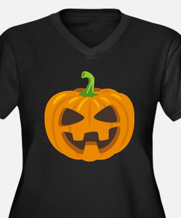 Jack-O-Lante Women's Plus Size V-Neck Dark T-Shirt