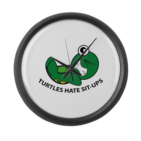 Turtles Hate Sit-Ups Large Wall Clock