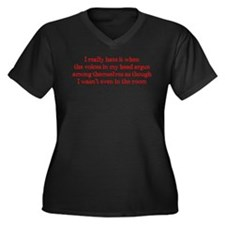 Voices In My Head Women's Plus Size V-Neck Dark T-