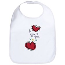 I Love You XOX Hearts Bib