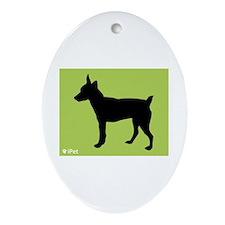 Rat Terrier iPet Oval Ornament