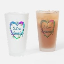 I Love Swimming Drinking Glass