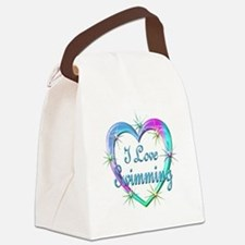 I Love Swimming Canvas Lunch Bag