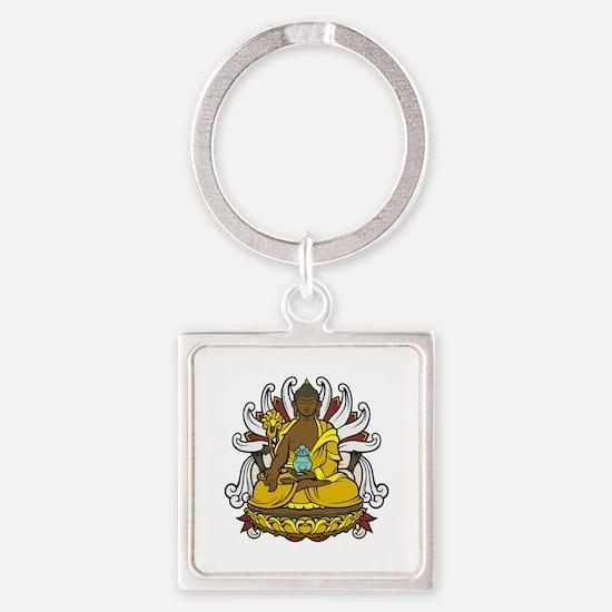 Medicine Buddha Square Keychain