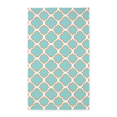 quatrefoil turquoise white and orange 3 39 x5 39 area r by cutetoboot. Black Bedroom Furniture Sets. Home Design Ideas