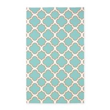 Quatrefoil Turquoise White and Orange 3'x5' Area R