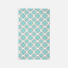 Quatrefoil Turquoise White and Orange 3'x5' Area R