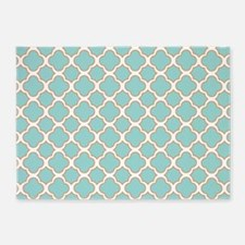Quatrefoil Turquoise White and Orange 5'x7'Area Ru