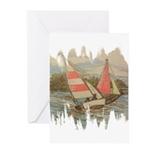 Hand Drawn Sailboats Greeting Cards