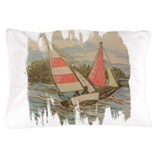 Hand Drawn Sailboats Pillow Case