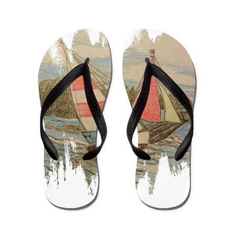 Hand Drawn Sailboats Flip Flops