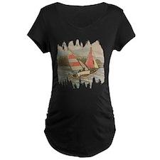 Hand Drawn Sailboats Maternity T-Shirt