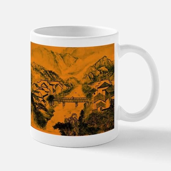 Asian pattern on porcelain, orange Mugs