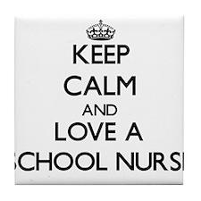 Keep Calm and Love a School Nurse Tile Coaster