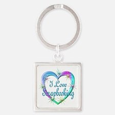 I Love Scrapbooking Square Keychain