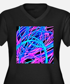 neon light show, blue Plus Size T-Shirt