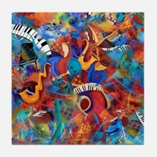 Music Trio Curvy Piano Colorful Abstr Tile Coaster